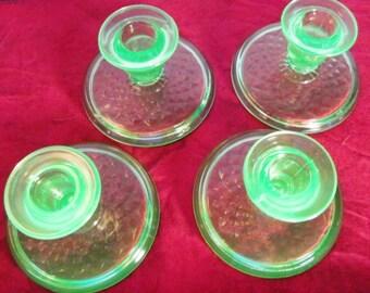 Vintage Vaseline Candlestick Holders Set of 4 Textured base