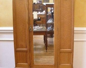 REDUCED, Antique Victorian English Oak Wardrobe, Mirrored Armoire.