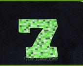 Minecraft Inspired Iron On Fabric Birthday Any Number DIY Girls or Boys
