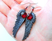 VALENTINE'S DAY Sale! From 22.50 to 18.99 ~ Dark Angel Wing with Swarovski Red Heart Crystal Hanging Earrings, Handmade Jewelry in NYC