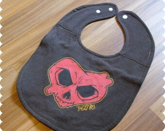 Skull Heart Recycled T-Shirt Baby Bib, Baby Shower Gift, Baby Boy Clothes