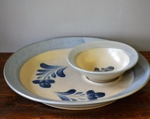 Rowe Pottery Chip & Dip Tray Salt Glazed / Party Serving