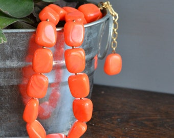 Trifari Coral Chunky Bead Necklace / Vintage Jewelry
