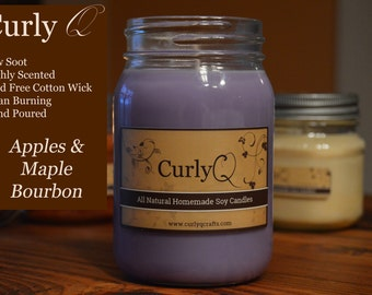 Apples and Maple Bourbon 16oz Soy Candle ~ Heavily Scented!