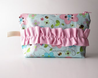 Pink Ruffle Makeup Pouch by Lucky Cottage