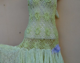 """20%OFF vintage inspired yellow crochet cotton top with pixie hem .,,small to 38"""" bust..."""