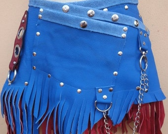 """20%OFF bohemian tribal bellydance fringed suede belt with stud detail.chain,2 pockets ...28"""" to 36''"""