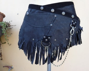 """20%OFF steampunk bohemian gypsy leather skirt belt with dog clip & with pocket ...36"""" to 44'' hips or waist..."""