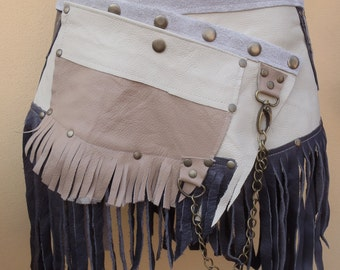 "20% OFF bohemian tribal gypsy fringed leather belt..27"" to 36"" waist or hips.."