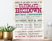 Vintage Hoedown Invitation - Ultimate Hoedown Throwdown - Country Western - PRINTABLE or Printed Invitations