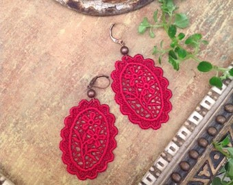lace earrings - SOPHIA - cherry red