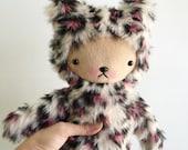 Kawaii Teddy Bear In Animal Print Faux Fur Large Pink