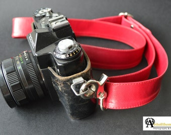 Leather Camera Straps | Gifts for Photographers | Men's Camera Strap | Women's Camera Strap | Hot Pink DSLR Camera Strap | Hot Pink Camera