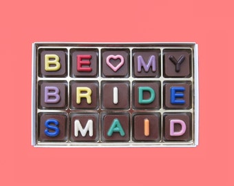 Ask Bridesmaid Proposal Gift Would Will You Be My Bridesmaid Gift Personalized Fun Idea Way Ask Invitation Jelly Bean Chocolate Cube Letter