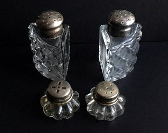 SALE Antique Glass Silver Salt and Pepper Shaker Lot of 4 Art Deco Collectibles Home Decor