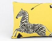 Zebra Yellow Scalamandre Lumbar Pillow Cover 12x20, Yellow Throw Pillow, Zebra Pillow, Toss Pillow, Accent Pillow, Zebra Migration