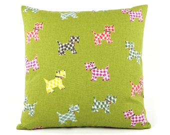 """Scottie Scottish Terrier Decorative Throw Pillow Cover 18x18"""" in Green, Reverses to Plaid on Back, Home Decor Dogs, Westie, Hottie Scottie"""