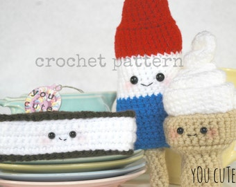 CROCHET PATTERN- Amigurumi Cool Treats Trio- soft serve, ice cream sandwich,rocket pop,crochet food pattern, crochet ice cream pattern,