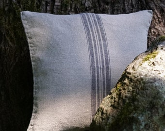 Linen pillow case - natural fabric pillow cover - gray with black stripes - decorative covers - luxury linen