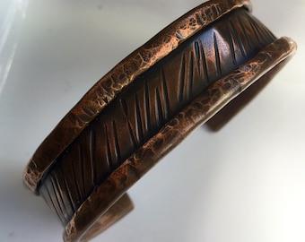 Metal Bracelet, Copper Cuff Bracelet, Hammered Copper Cuff, Distressed Copper Cuff, Rustic Copper Cuff, Heavy Metal Jewelry