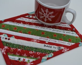 Holiday Decor Christmas Mug Rug, Holiday Coaster, Cotton, Upcycled Placemat, Table Protector, Mini Quilt, Red Green