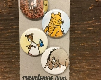 Pooh upcycled/recycled magnet set (4)