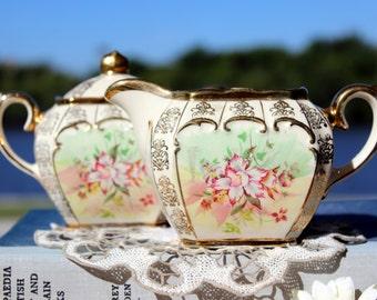DAMAGED Sadler Cube, Creamer and Sugar, Cream & Sugar Set, English Bone China 13128