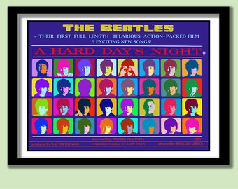 Beatles Poster. Pop Art Hard Day's Night Movie Poster Large B2 (70x50 cm) Print