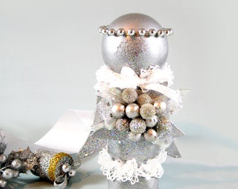 Silver Glitter Angel, Littlest Angel, Christmas Angel, Recycled Wood Spindle, Christmas Decoration, Child's Angel Gift, Mantel Decoration