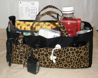 Bag Organizer Insert, Bucket Style, 23 Pockets, Travel Tote, Weekender Tote, Large Handbag, Leopard/Black Print, Ready to Ship