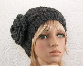 Hand knit spiral hat - graphite grey beanie - women's winter accessories Winter Fashion Gift for her by Sandy Coastal Designs ready to ship