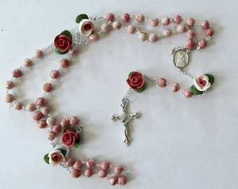 "Sterling Silver Our Lady of LaSalette ""cinnamon colored"" clay rosary, handmade"