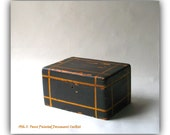 Antique Handpainted Wood Document Box - Americana - Faux Painted Home Decor