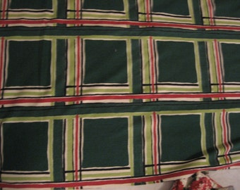 Vintage Fabric Yardage: Mid century Barkcloth Large Green Plaid