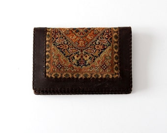 vintage tapestry wallet, fold over leather clutch