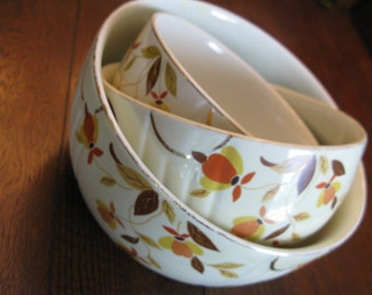 Mid Century or Earlier Graduated Set of 3 Jewel Tea Autumn Leaf Serving Mixing Bowls Bold Fall Colors Cream Gold Trim THANKSGIVING Ready!