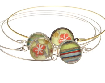 Blossoms on Chartreuse. Bitty Bangles