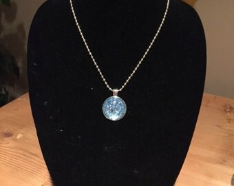 Blue Glass Pendant with chain