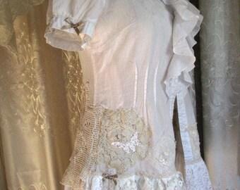 Shabby Cotton Shirt, flounce ruffles, soft shabby chic top, white cotton lace blouse, romantic shabby victorian button up shirt, MEDIUM