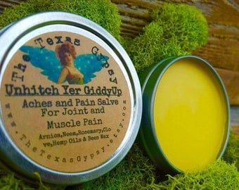 Unhitch Yer Giddy Up Arnica Joint And Muscle Pain Salve also for Bruising and sore muscles