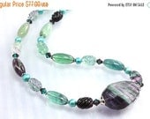 ON SALE Rainbow Fluorite Necklace Sterling Silver