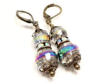 Crystal AB Antique Style Earrings - Antique Brass - Lever Backs - Vintage Style