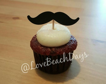 12 Mustache Cupcake Toppers, Candy/ Dessert Table, Baby Shower Table Decor