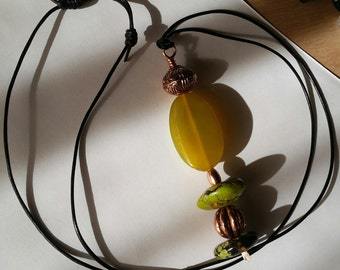 NEW GIFT IDEAS - Chunky Green Turquoise and Copper with Green Agate Necklace