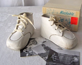 Vintage Leather Baby Shoes Live Wire Original Box 1950s Retro Baby Shower Photo Prop Studio Display