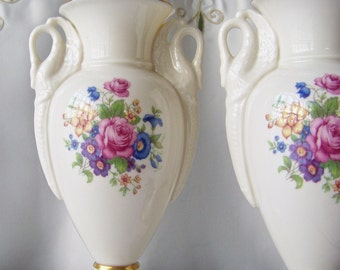 Vintage Lenox Porcelain Trophy Vases Double Swan Handles Cream Color Bud Vase Rose Pattern Decoration 24K Gold Trim Lenox Porcelain 1940s