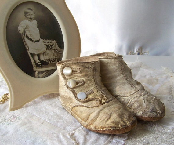 vintage leather baby shoes white leather button by