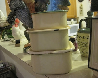 3 Vintage Enamelware Containers..... Kockums..... Sweden