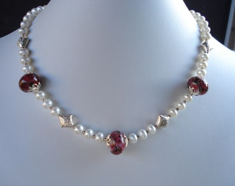 Roses - Lampwork, Pearls and Sterling Silver necklace