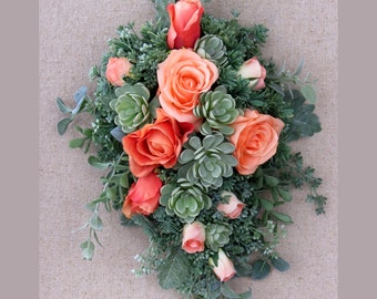 Succulent Bouquet, Bridal Bouquet, Rose and Succulent, MADE TO ORDER, Peach and Sage Bridal, Faux Succulents, Seeded Eucalyptus